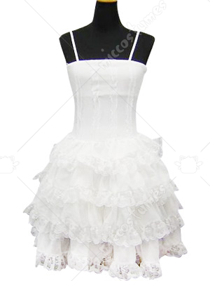 White Lace Trimmed Classic Lolita Cosplay Dress