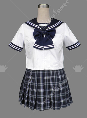 White Sailor Japanese School Uniform with Checkers