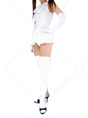 White Shiny Metallic Bowknot Mini Skirt Suit