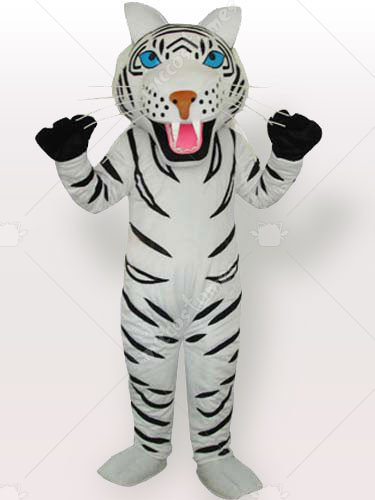 White Tiger with Black Stripes Adult Mascot Costume Type A