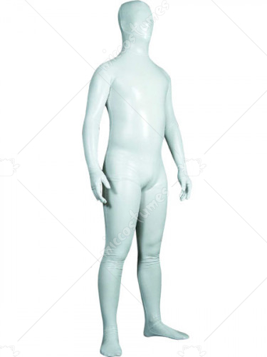 White Unisex Shiny Metallic Zentai Suit