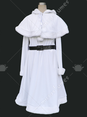 White velvet overcoat Christmas cosplay costume