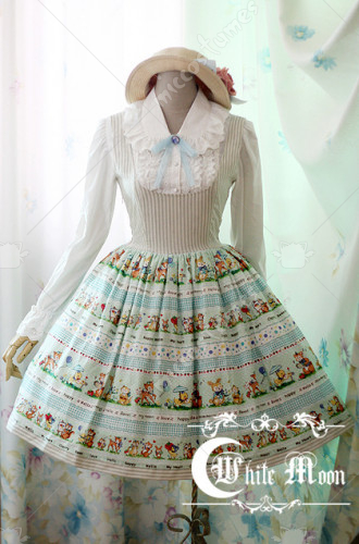 White Moon preppy style strip printing dress