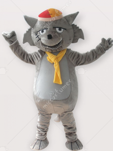 Wolf Short Plush Adult Mascot Costume