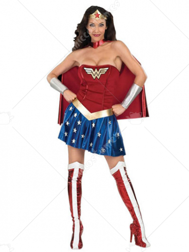 Wonder Woman Diana Lycra Shiny Metallic Super Hero Costume