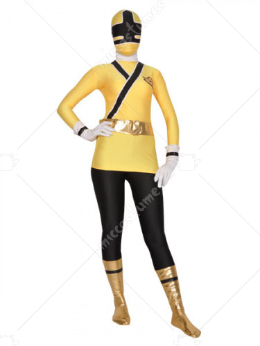 Yellow And Black Shiny Metallic Lycra Super Hero Zentai Suit