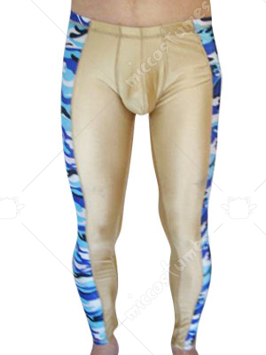 Yellow And Blue Camouflage Lycra Spandex Pants