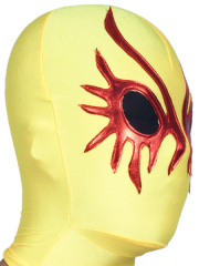 Yellow And Red Open Eye Spandex Hood