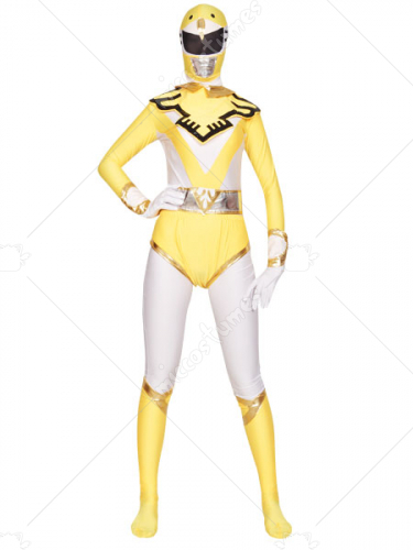 Yellow And White Shiny Metallic Lycra Super Hero Zentai Suit