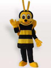 Yellow Black Short Plush Adult Mascot Costume
