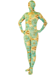 Yellow Green And Brown Spandex Unisex Zentai Suit