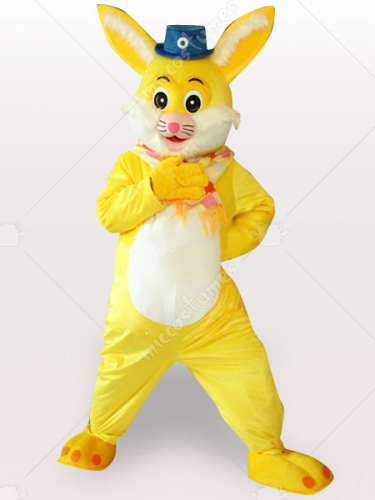 Yellow Rabbit Short Plush Adult Mascot Costume