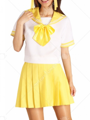 Yellow Short Sleeves Sailor School Uniform