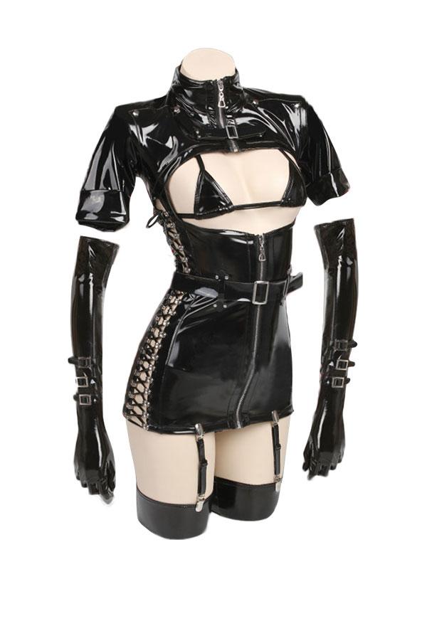 Details about  /White Cos Dark Reign Nurse Cosplay Costume Leather Leotard Elastic Clack Hot