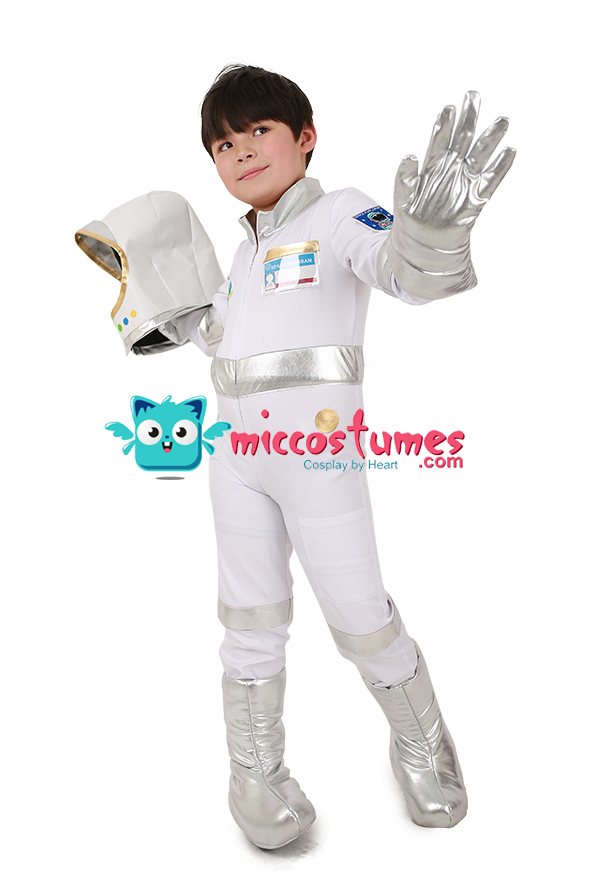 miccostumes Kids Red Astronaut Halloween Costume Jumpsuit with Gloves Shoes Cover