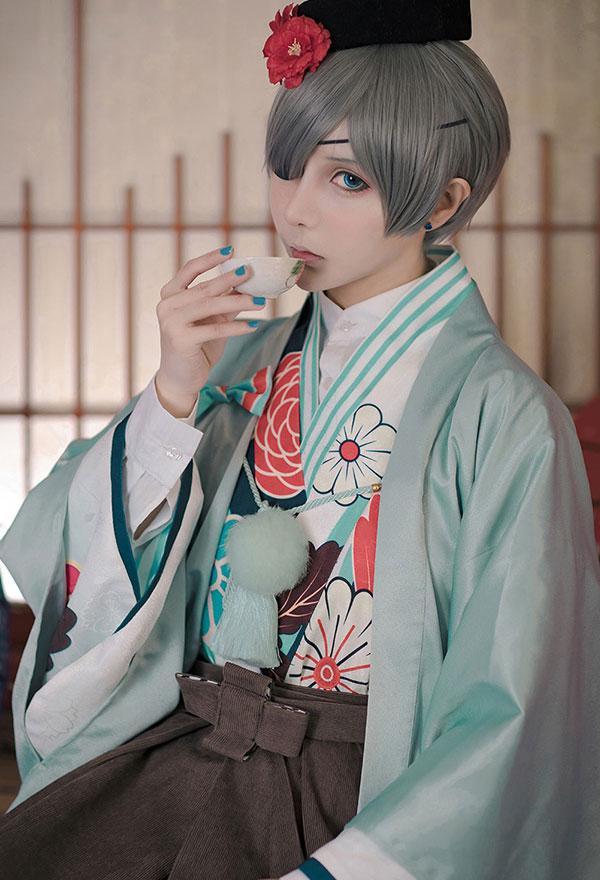 Black Butler Ciel Phantomhive Funtom Cafe Kimono Anime ...
