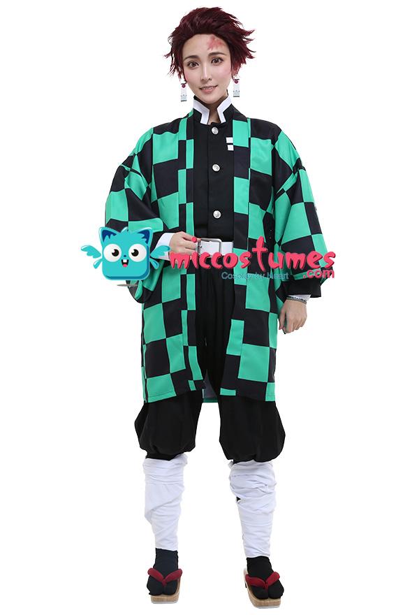 miccostumes Mens Kamado Tanjiro Cosplay Costume Outfit Robe Kimono Uniform