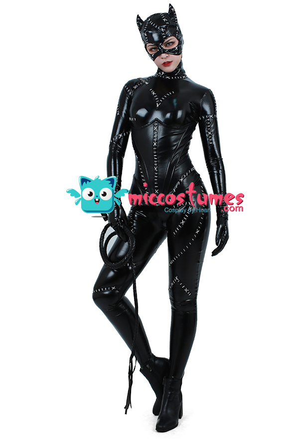 this superheroine jumpsuit costume inspired by catwoman order to made it is not an official dc comics product not approved by or associated with dc
