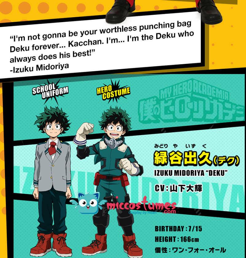 My Hero Academia Midoriya Izuku Deku Cosplay Costume Gamma Battle Suit Fighting Suit
