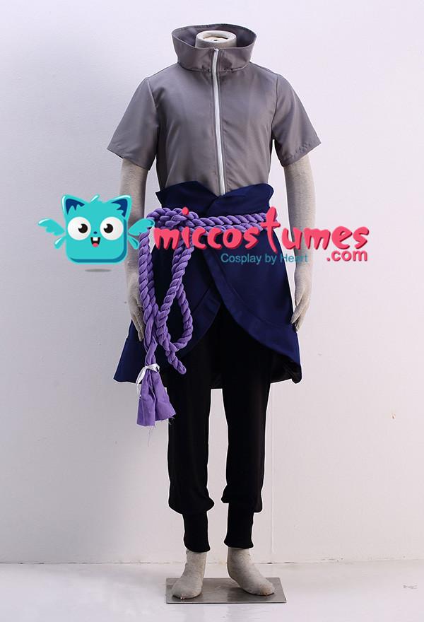 Naruto Sasuke Uchiha Grey Cosplay Costume
