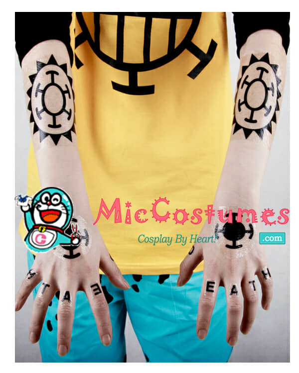 One piece trafalgar law cosplay tattoo sticker for sale for Trafalgar law tattoos