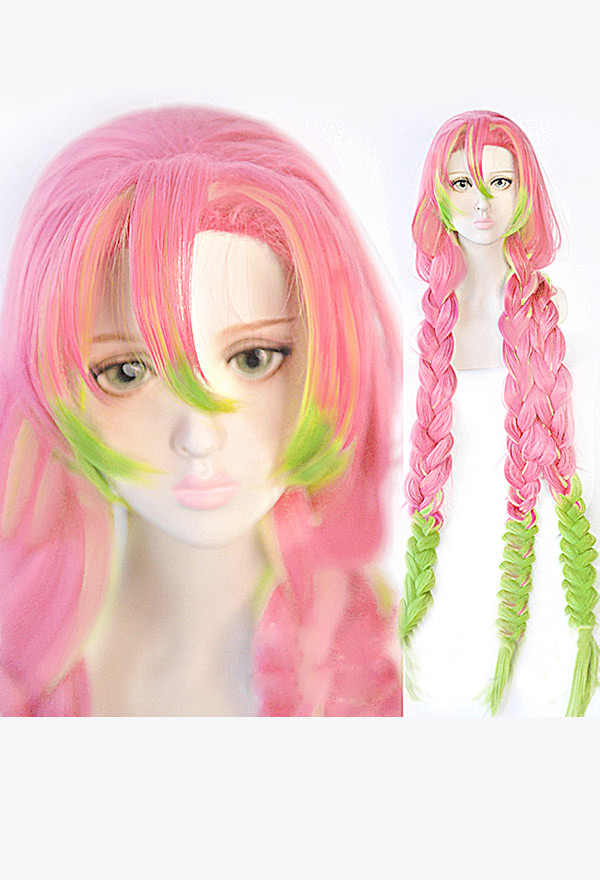 Demon Slayer Kimetsu No Yaiba Cosplay Mitsuri Kanroji Cosplay Wig Wig For Sale Kanroji mitsuri is a character from kimetsu no yaiba. demon slayer kimetsu no yaiba mitsuri kanroji thick braid green pink gradient color cosplay wig